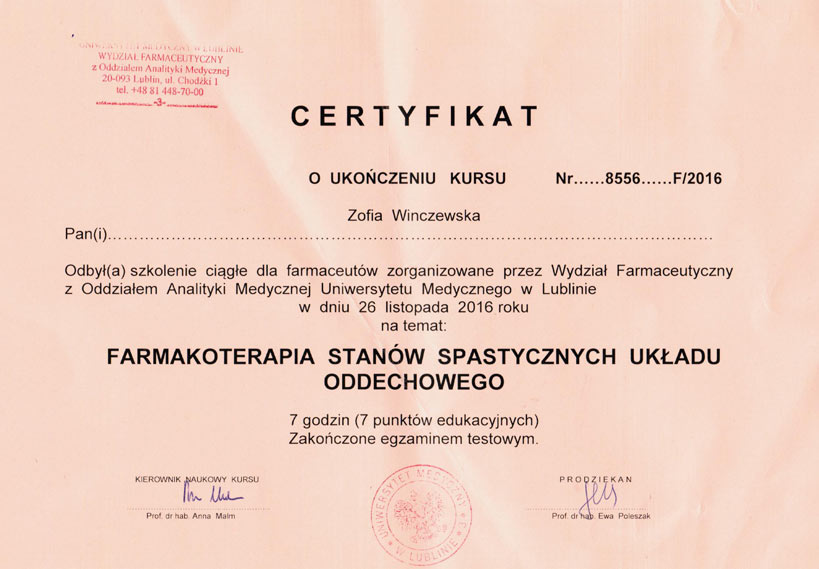 Certyfikat UM Lublin