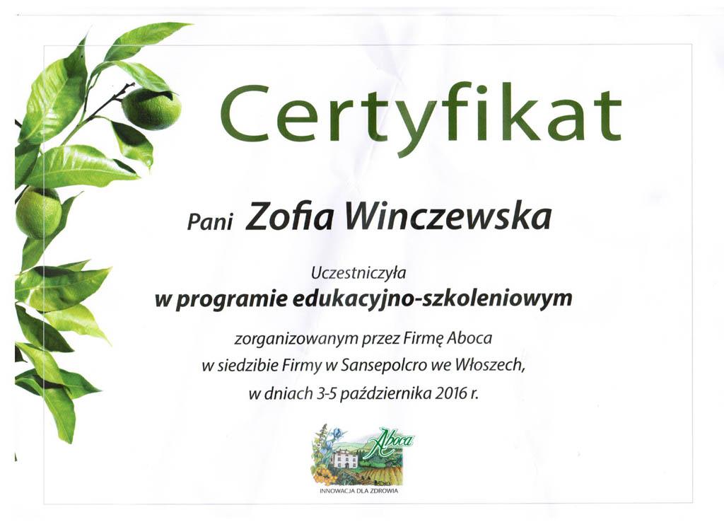 Certyfikat Aboca.